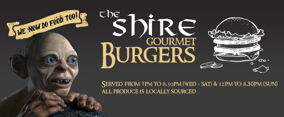 The Shire Gourmet Burgers - Served from 1pm to 8.30pm (Wed-Sat) & 12pm to 8.30pm (Sun). All produce is locally sourced