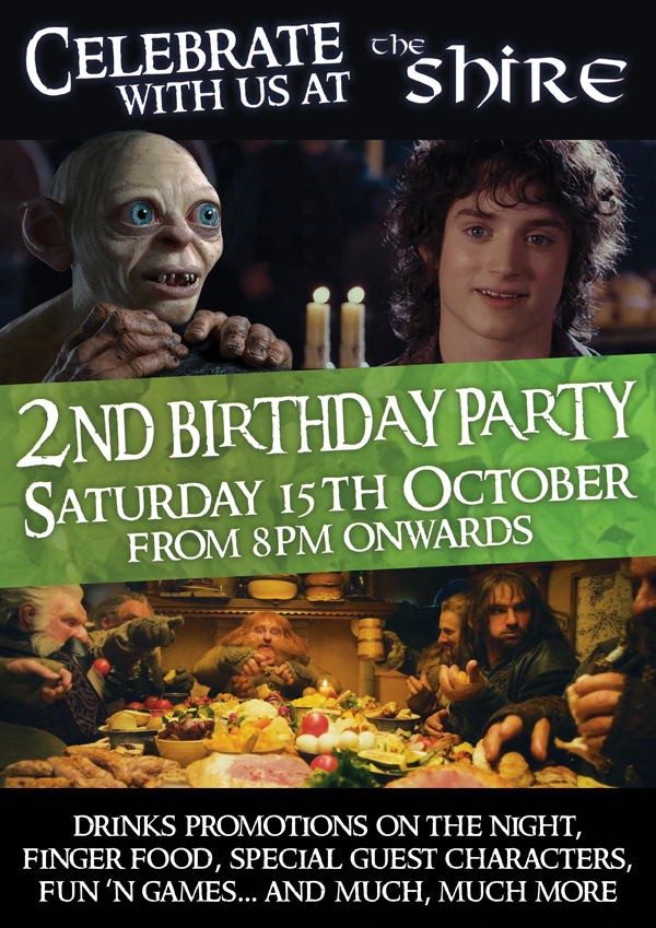 The Shire Bar - Nightlife Killarney - Killarney Bar - 2nd birthday party - Saturday 15th October from 8pm onwards - drinks promotions on the night, finger food, special guest characters, fun 'n games... and much, much more