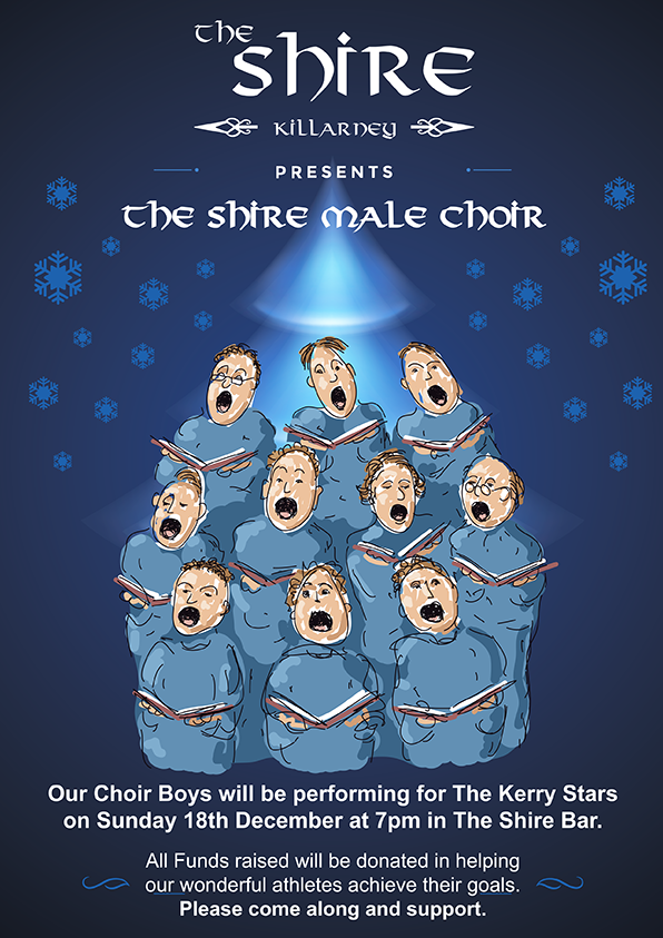 The Shire male choir perform again for the Kerry Stars on Sunday 18th December 2016 at 7pm @ The Shire Bar Killarney