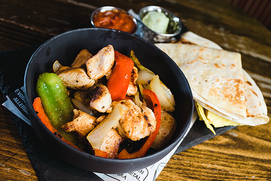 Fajitas - 2 x Tortillas, Mixed Peppers, Red Onion & Cheese, loaded with Chicken or Steak Strips