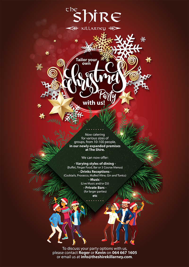 Celebrate your Christmas Party with us at The Shire Killarney