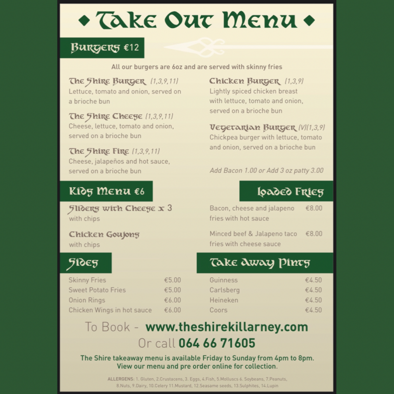 The Shire Take Out Menu